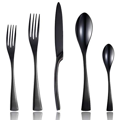 Lemeya 20 Pieces Flatware Cutlery Set,18/10 Stainless Steel Silverware Utensils Service for 4,Include Knife/Fork/Spoon, Mirror Polished,Dishwasher Safe(Black)