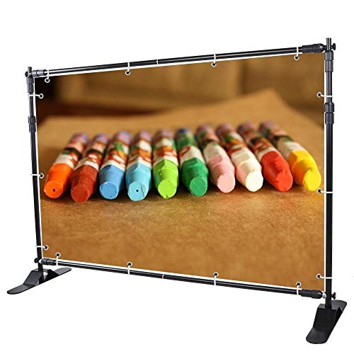 VEVOR 8'X 8' - 10' x 8' Backdrop Banner Stand Newest Step and Repeat for Trade Show Wall Exhibitor Photo Booth Background Adjustable Telescopic Height and Width]()