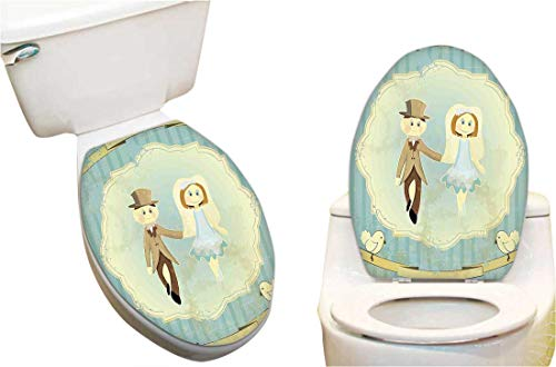 Toilet Toilet Lid Decal Sticker Vintage Retro Design Bride Groom Pigeons Ribbon Slate Blue Avocado Green Toilet Seat Lid Cover Decals Stickers 12