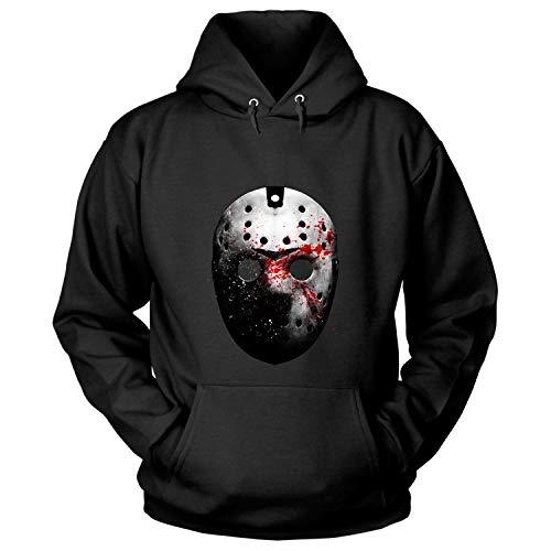 Jason Voorhees Face Mask Shirt, Friday The 13th T Shirt - Hoodie (XL, Black) ()