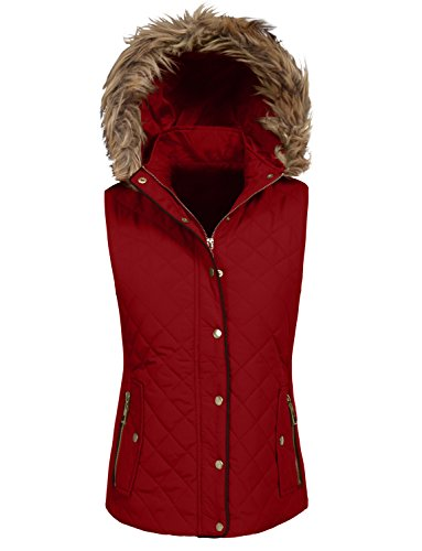 NE PEOPLE Womens Quilted Light Weight Fur Padding Jacket / Vest S-3XL