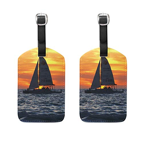 zhurunshangmaoGYS Sailboat Gulf Of Mexico Travel Luggage Tags Suitcase Luggage Bag Tags Set Of 2