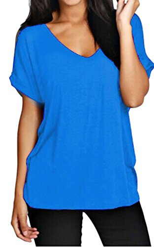 Meaneor Women Solid Comfy Loose Fit Roll Over Short Sleeve V Neck Lightweight Top Tee – Medium, Blue