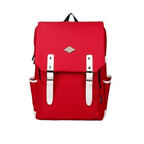 Backpack Bag School Wicky College Vintage Unisex Rucksack White Ls Canvas Travel Daypack Laptop Red 0rHqHtzwU