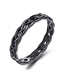 925 Celtic Knot Rings for Women Sterling Silver Wedding Band 4mm Size 4-11