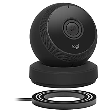Logitech Circle Wireless 1080p Video Battery Powered Security Camera with 2-way Talk (Black)