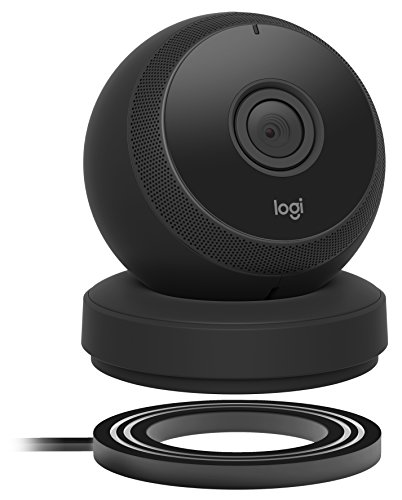 Logitech Circle Wireless HD Video Battery Powered Security Camera with 2-way talk – Black (Wireless Battery Webcam)
