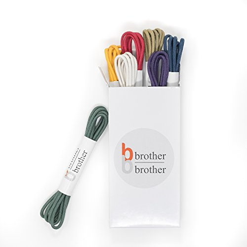 Brother Brother Colored Oxford Shoe Laces for Men (7 Pairs) | 100% Cotton Round and Waxed Shoelaces for Dress Shoes | Gift Box with Olive, Navy Blue, Purple, Yellow, Red, Beige and White Shoelaces