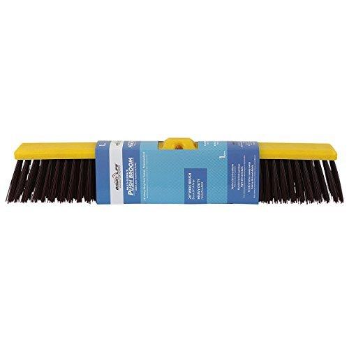 BISON LIFE BIS-WB-09-1 Multi Surface Push Coarse Polypropylene and Polystyrene Heavy-Duty Floor Sweep Broom, Black (Floor Heavy Sweep Duty Block)