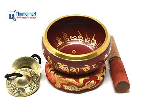 5.25 Inch Tibetan Meditation Yoga Singing Bowl Set with free wooden Mallet Cushion Om Tingsha Cymbals from Nepal, Singing bowls. ()