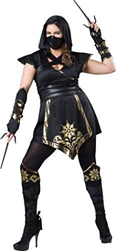 Fun World Women's Plus-Size Ninja'S Mystique Fitting Costume, Black/Gold, 3XL]()