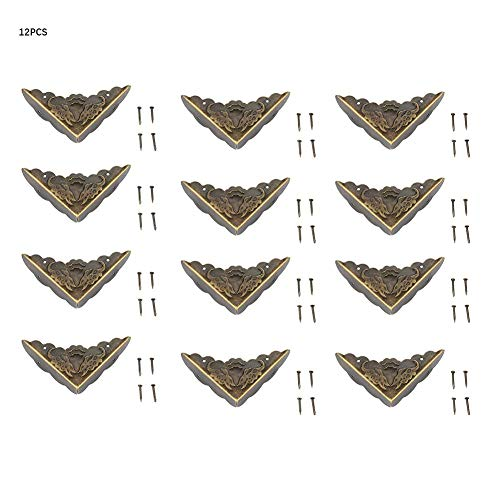 Garosa 12Pcs Antique Brass Corner Decorative Protector for Jewelry Trinket Box Chest Gift Wine Wooden Case Book Scrapbook Photo Album - Corner Boxes Brass Gift