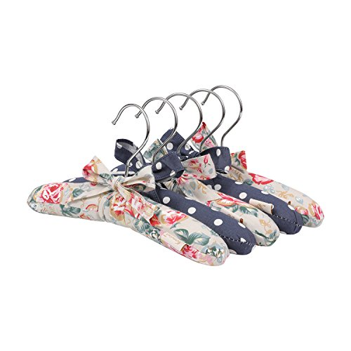 NEOVIVA Soft Touch Blue Hangers Set of 5, Infant Clothes Hangers for Baby Girls with Bow Tie, Floral Quarry Bloom