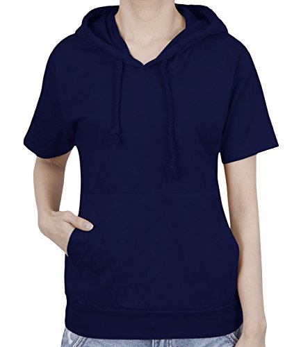 (ililily Basic Solid Color Short Sleeve Pullover Hooded Cotton Top Sweatshirt, Navy Blue, US-L)