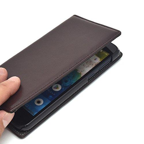 PLATA Android One S3ケース 手帳型 本革 ラム シープスキン 手触りの良い 羊革 レザー カバー フラップなし の スリム 設計 内側は PC ハードケース でしっかり 保護 便利な 横置き スタンド利用可 カードポケット 付き 【 ブラック 】