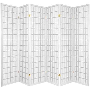 Oriental Furniture 6 ft. Tall Window Pane Shoji Screen - White - 6 Panels