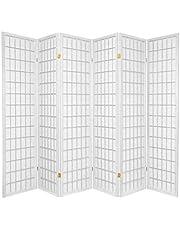 Oriental Furniture Asian Furniture, 6-Feet Window Pane Japanese Shoji Privacy Screen Room Divider, 6 Panel White