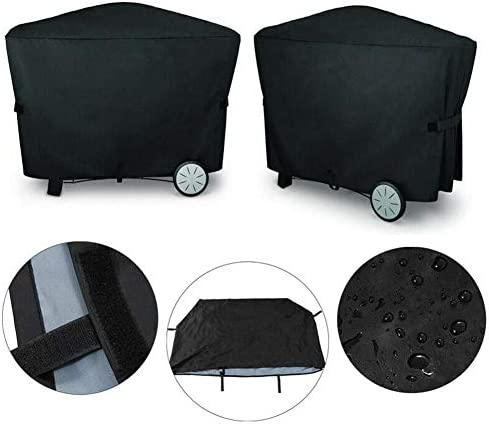 PITCHBLA Couvercle extérieur en polyester noir résistant à l'eau, recouvrant toute la durée, facile à nettoyer, convient à la famille Weber des séries Q2000 et Q3000.