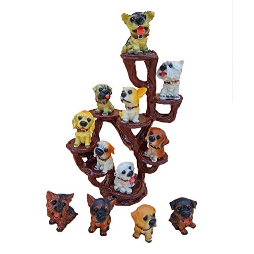 Sunshinetimes 12PCS Mini Puppy Dogs Figurines Toy Set Lovely Animals Resin Statues Craft for Home Car Office Decor (12pcs Puppies with Display Stand)