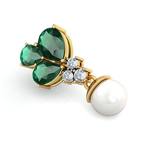 14K Or jaune 0,21CT TW White-diamond (IJ | SI) et émeraude et blanc perle Boucles d'oreilles