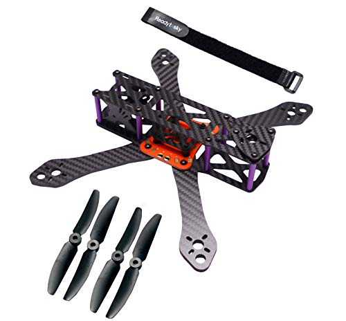 Readytosky 220mm FPV Racing Drone Frame for Martian II Carbon Fiber Quadcopter Frame Kit 4mm Arms with 5030 Propellers+ Lipo Battery Strap (Quadcopter Carbon Fiber Frame)