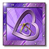 3dRose dpp_40348_1 Two Hearts with Jewel, Purple-Wall Clock, 10 by 10-Inch