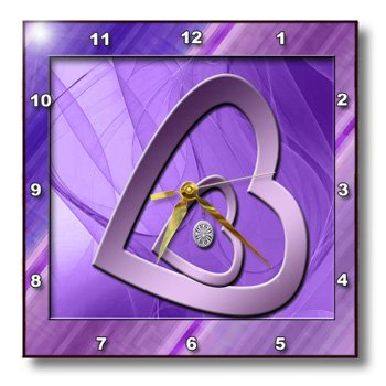 Two Hearts with Jewel, Purple-Wall Clock,