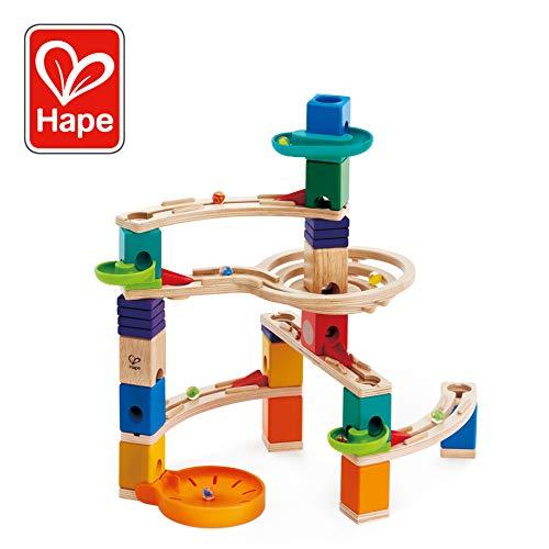 Hape Quadrilla Cliffhanger Wooden Marble Run | Marble Maze Run Set, Early Educational STEM Development Building Toys for Kids, Multicolor