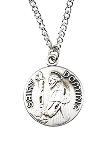 - Patron and Protector Medals Sterling Silver Saint St Dominic Dime Size Medal Pendant, 3/4 Inch
