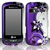 Cell Phone Case Cover Skin for LG LN272 Rumor Reflex, VN272 (Purple / Silver Vines) - Sprint,Boost Mobile