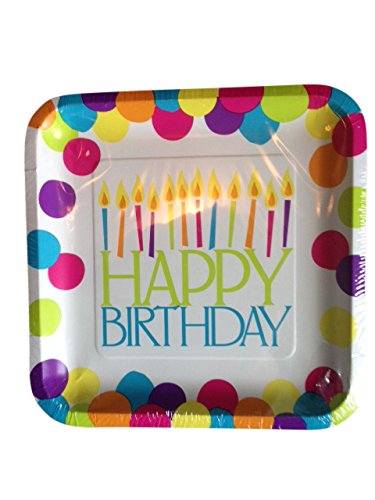 Happy Birthday Party Supply Pack - 12 Square Guest Plates, 24 Napkins, 12 Purple Cups, 48 Pieces of Silverware