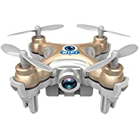 Mini Quadcopter Drone, CEStore Smallest 6 Axis Gyroscope Aerial Vehicle Omni-Directional Movement Indoor Outdoor Flight Helicopter with Colorful LED/ 0.3MP HD Camera/ WIFI Remote Control-Golden