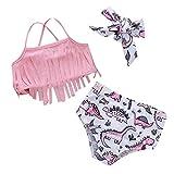 Kids Baby Girl Cartoon Print Tassel Bikini Beach Swimsuit Bathing Swimwear Sets