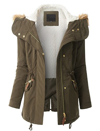 RK RUBY KARAT Womens Fleece Lined Anorak Military Parka Jacket With Faux Fur (Fleece Lined Anorak)
