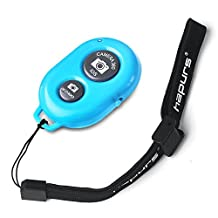 Hapurs Bluetooth Wireless Remote Control Camera Shutter Release Self Timer for iPhone 5S 5C 5 4S 4, iPad Air Mini, Samsung Galaxy S5 S4 S3 Note Tab, Google Nexus, HTC, Sony and other iOS Android Phones - Blue