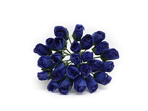 1cm Dark Blue Navy Paper Roses, Mulberry Paper Flowers, Miniature Flowers, Mulberry Paper Rose, Paper Rose Flower, Wedding Favor Decor, Miniature Rose, DIY Bouquet, Scrapbooking Flowers 50 Pieces ()