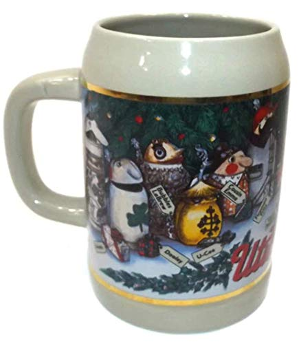 - Vintage 1994 Utica Club Beer Advertising Christmas Stein Beer Mug Tankard
