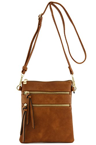 Functional Multi Pocket Crossbody Bag (Dark Tan) (Coin Leather Bracelet)