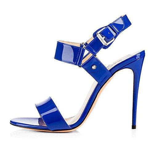 L@YC Sandalias De Hebilla De Cuero De Patente De TacóN alto De Mujer Rojo / azul / Negro / albaricoque Blue
