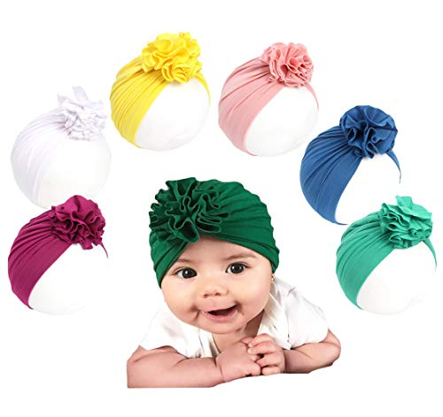 Baby Girl Hat with Rabbit Ears Bow Hat Toddlers Soft Turban Variety Knotted Hats Cap (Petal hat Set (6pcs))