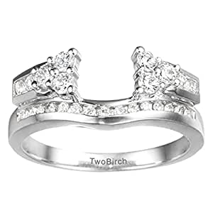 Silver Anniversary Jacket Ring with CZ (0.5 ct. twt.)