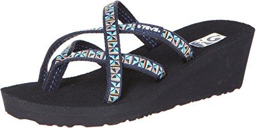 Teva Women's Mush Mandalyn Wedge Ola 2 - 2 Pack Black/Mosaic Blue Sandal 8 B (M)