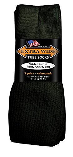 Extra-Wide-Tube-Sock-3-Pair-Value-Pack-Wider-in-Foot-Ankle-and-Leg-Black-Size-9-15-up-to-6E-wide