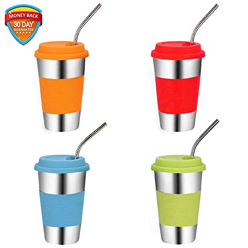 (Stainless Steel Cups with Lids and Straws,Set of 4,Vermida 16OZ/500ml Metal Cups,Metal Drinking Glasses with 4 Bent Straws and Brush,Unbreakable Drinking Tumblers for Kids and Adults (4 color))