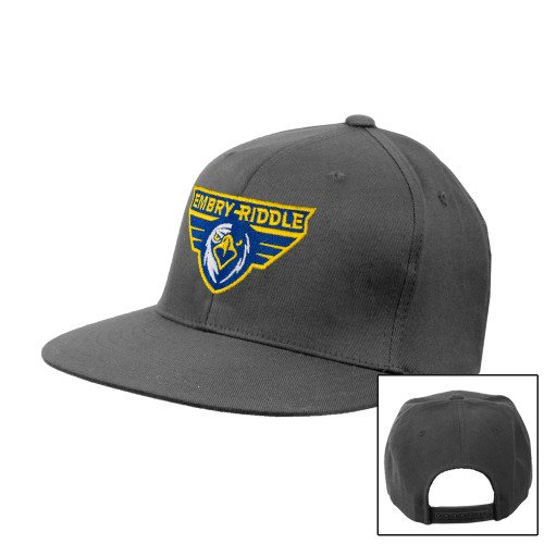 - Embry Riddle Prescott Charcoal Flat Bill Snapback Hat 'Athletic Mark'