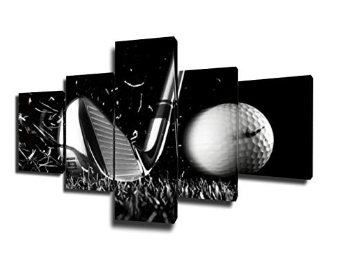 Golf Course Pictures White and Black Wall Art Golf Ball Paintings Multi Panel Printed on Canvas Landscape Artwork Modern Home Decoration Giclee Wooden Framed Gallery-Wrapped Ready to Hang(50''Wx24''H) ()