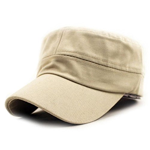 Clearance Classic Plain Army Military Cadet Style Cotton Cap Hat Adjustable (Beige)