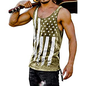 ggjfnv Men Striped American Flag Printed Tank Top Casual Summer Sleeveless Shirt