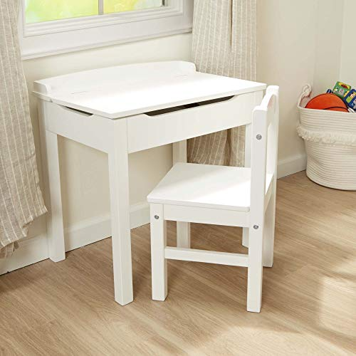 Melissa & Doug Child's Lift-Top Desk & Chair (Wooden Chair & Desk Set, Safety-Hinged Lid, White, 16.1