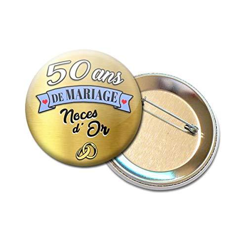 Badge Rond à épingle 56 Centimètres 50 Ans De Mariage Noces